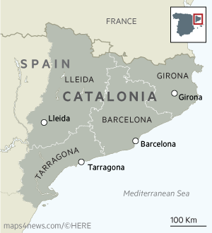map showing the location of catalonia within spain