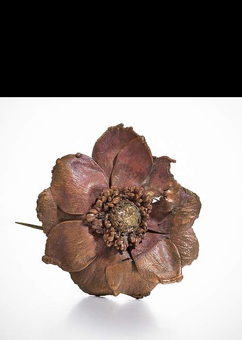 Claude Lalanne's Orchid brooch in galvanised copper. Courtesy Louisa Guinness Gallery