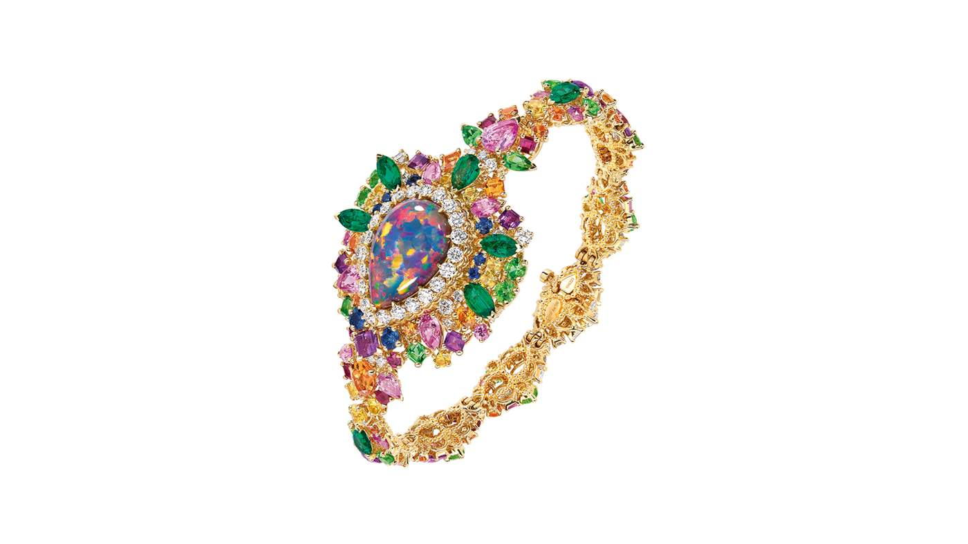 majestueuse opal high jewellery timepiece in gold diamonds black opal sapphires