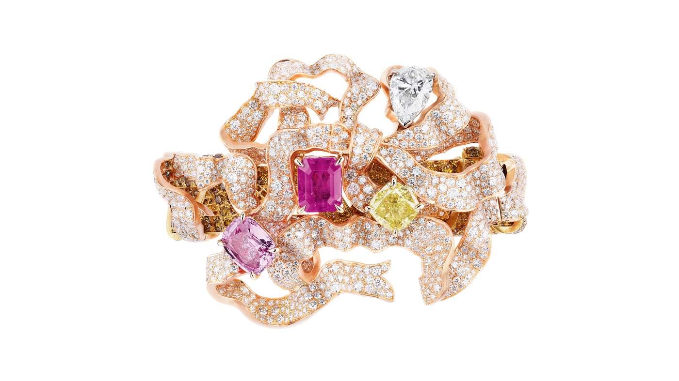 Salon De L'abondance Bracelet In Pink, Yellow And White Gold With Diamonds