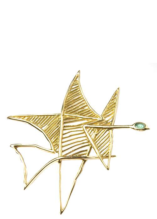 Asteria brooch, 1963, in gold & emerald © Keystone-France\/Gamma-Keystone via Getty